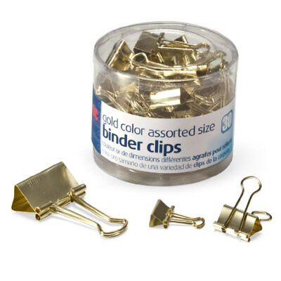 Officemate Binder Clips Gold Assorted Sizes 30 in Tub 31022 Other Office Desk