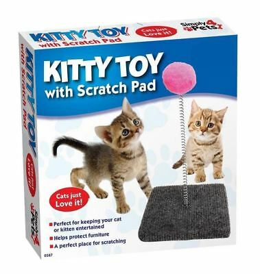 Cat Kitty Moving Play Toy Pet Spring with Scratcher Scratching Pad Ball Toy Game