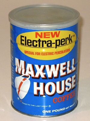 Vintage 1960s MAXWELL HOUSE COFFEE Advertising Tin Can! New ELECTRA-PERK! One Lb