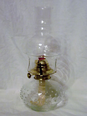 Clear Glass Oil Lamp Hobnail Pattern Excellent Condition