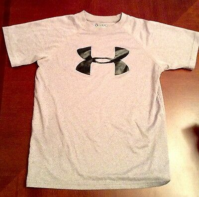 Under Armour Heatgear Loose Boy's Gray Short Sleeve Logo Shirt /Size YMD