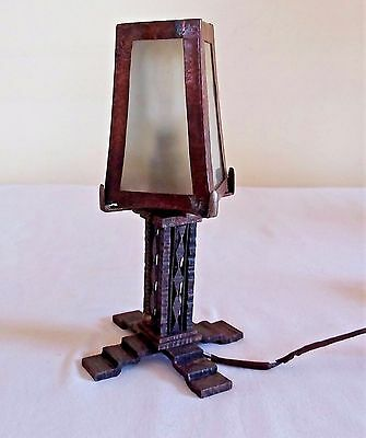 Antique Arts & Craft Hand made Lamp Night Light Slag Glass Hammered Copper Mini