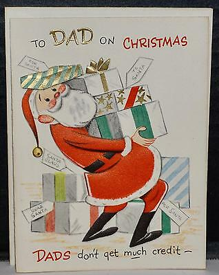 Vtg 50s UNUSED Gibson Greeting Card To Dad on Christmas Don't Get Much Credit