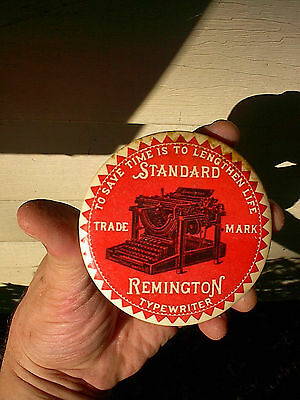 OLD c.1900 REMINGTON STANDARD ANTIQUE TYPEWRITER ADVERTISING PAPERWEIGHT MIRROR