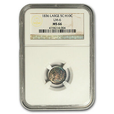 1836 Capped Bust Half Dime Large 5 C MS-66 NGC