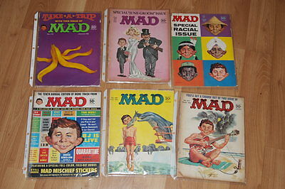 1960's Lot Of 6 Rare Vintage Mad Magazines Special Issues, 10Th Annual Edition