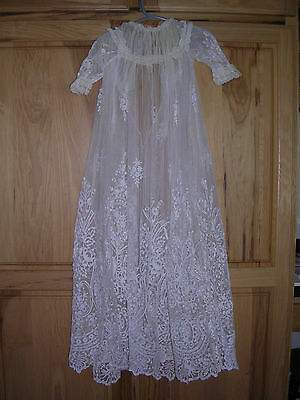 Vintage Off-White Tulle Christening Gown with Cotton Underdress
