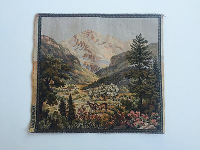 Antique French Woven Tapestry Cushion Piece - French/Bavarian Alps