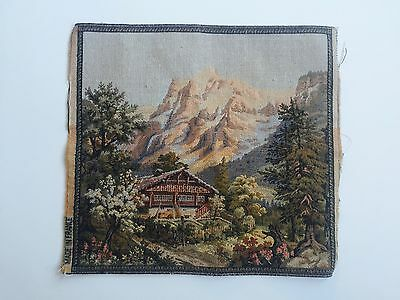 Antique French Woven Tapestry Cushion Piece - French/Bavarian Alps Lodge