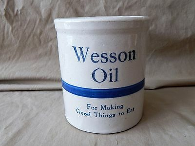 Blue and White Stoneware Beater Jar with Advertising for Wesson Oil