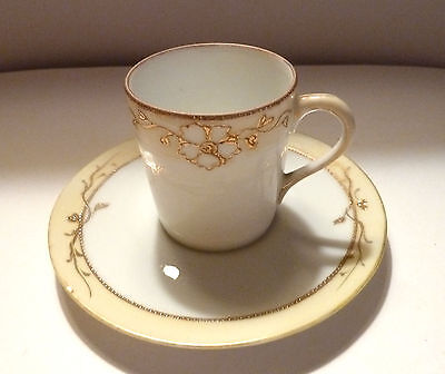 Moriage Style DemiTasse CUP & SAUCER 1960s Japan Handpainted SPIFFY