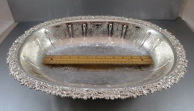 Massive Barker Ellis Serving Bowl With Feet And Hand Chased Decoration!