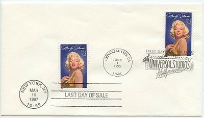1995 Fdc, 1997 Last Day Of Sale, Marilyn Monroe, Dual Cancels