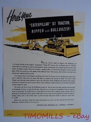 1950s Caterpillar D7 Tractor Ripper Bulldozer 1/24 Scale Toy Model Catalog Sheet