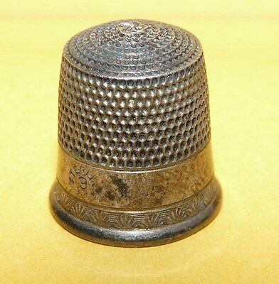 "~Vintage~Sterling~Silver~""925""~Size 9~Ornate~Design~Sewing~Thimble~Estate Find~"
