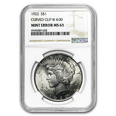 1922 Peace Dollar MS-63 NGC (Curved Clip Planchet Mint Error)