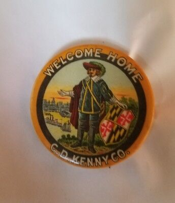 """Antique Celluloid Advertising C.d. Kenny Company 1 3/4"""" Pinback Button Scarce Nr"""