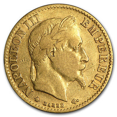 1862-1868 France Gold 10 Francs Napoleon III Laureate Avg Circ