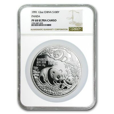 1991 China 12 oz Proof Silver Panda PF-68 NGC