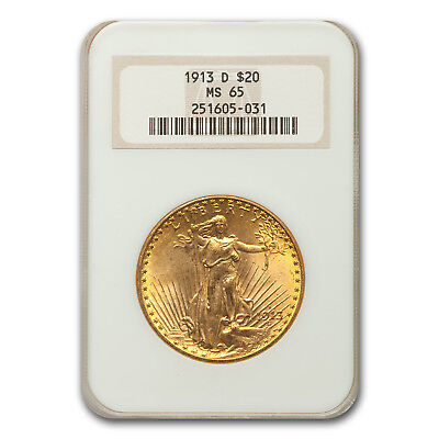 1913-D $20 Saint-Gaudens Gold Double Eagle MS-65 NGC