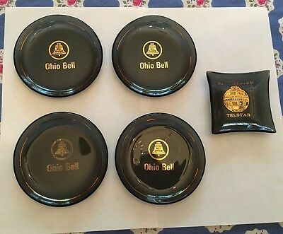 "4 Vintage Smoke Glass Advertising Coasters Ohio Bell System 3.25"" + Ashtray"