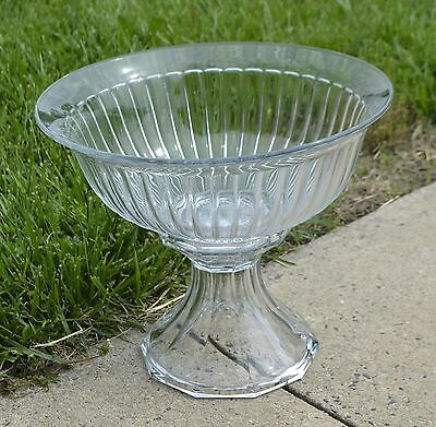 ThriftCHI ~ Heisey Narrow Flute Glass Punch Bowl w Pedestal Base