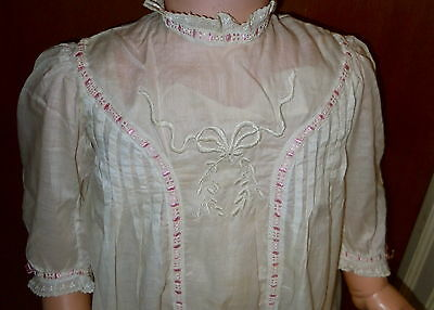 Antique Edwardian Small Child's Lawn Cotton Dress Silk Ribbon  Embroidery