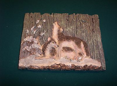Wolf Picture Scene  9X12 Inches Howling Resin Looks Like Wood