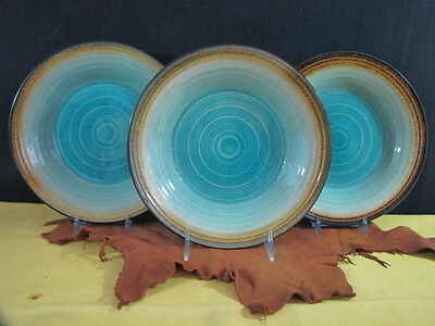 """Fitz and Floyd 7 Gourmet """"Palisades"""" Turquoise Desert Salad Bread Plates 9 1/2"""""""
