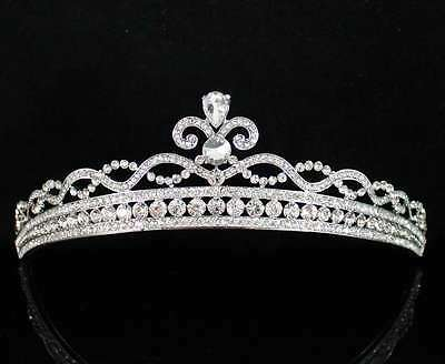 Princess Clear Austrian Rhiestone Crystal Hair Tiara Crown Bridal Party T1763