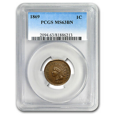 1869 Indian Head Cent MS-63 PCGS (Brown)