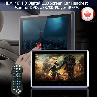 "10"" HDMI HD Digital LCD Screen Car Headrest Monitor DVD/USB/SD Player IR/FM"