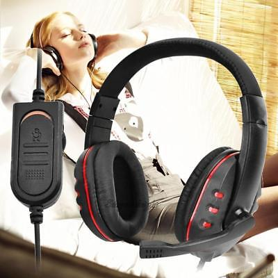 Gaming Headset Headphones Microphone / Voice Volume Control for PS4 Black+Red