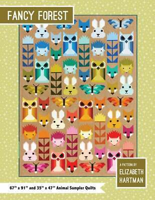 Fancy Forest by Elizabeth Hartman Animal Quilt Pattern ~ Hedgehog Owl Fox Bunny