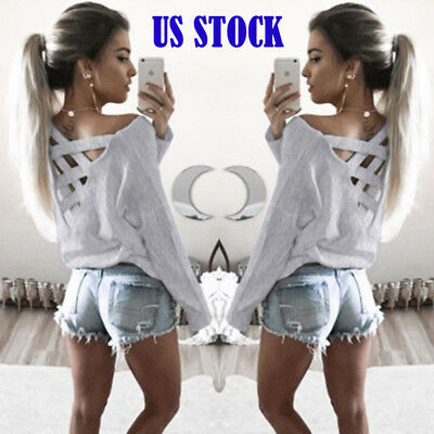 Womens Long Sleeve Shirt Casual Blouse Loose Fashion Cotton Tops Gray S HYQ06