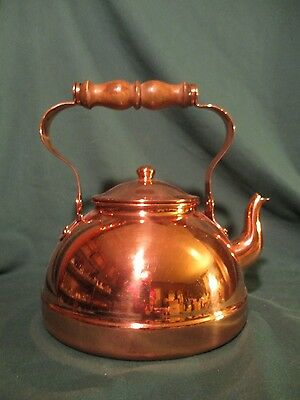 TAGUS COPPER GOOSENECK TEA POT KETTLE, made in Portugal w/WOOD HANDLE