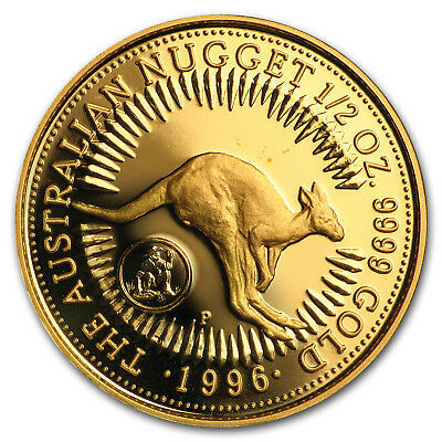 1996 Australia 1/2 oz Proof Gold Kangaroo (Prospector Privy)