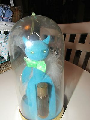 Vintage Max Factor Blue Sophisti-Cat Figure Golden Woods Perfume Bottle in Dome