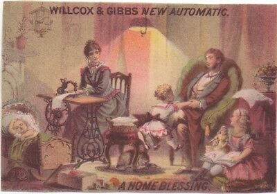 Family in Parlor Willcox & Gibb Automatic Sewing Machine Adv Trade Card c1880