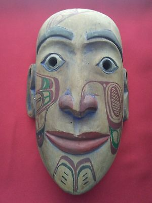 "1820""s  Native Canadian Kaigani Haida artist Wood Carved Mask - High End Item"