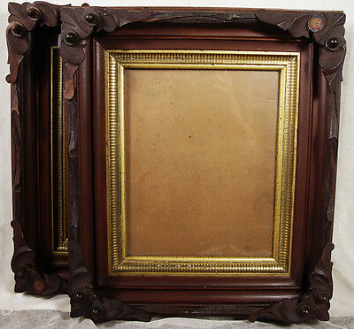 Pair of Ornate Antique Victorian Walnut Picture frames 13 x 15