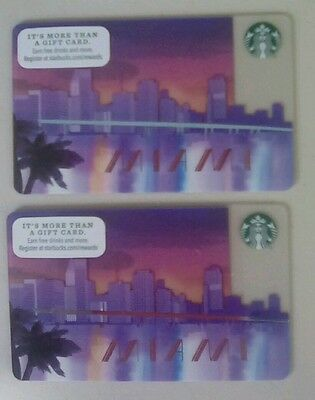 Two  Starbucks Miami Gift Cards  Issued 2016  Collectible Limited HTF  Beautiful