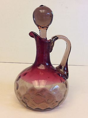 "Rare Antique EAPG Amberina Glass Cruet Inverted Thumbprint,6"" H, circa 1880"