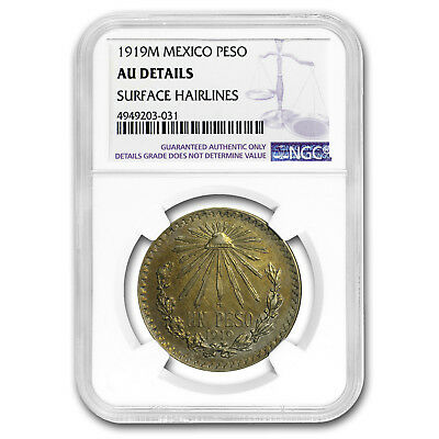 1919 M Mexico Silver Peso AU Details NGC (Cleaned)