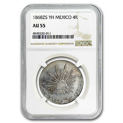 1868 Zs-YH Mexico Silver 4 Reales AU-55 NGC