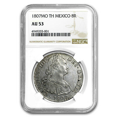 1807 Mo-TH Mexico Silver 8 Reales AU-53 NGC