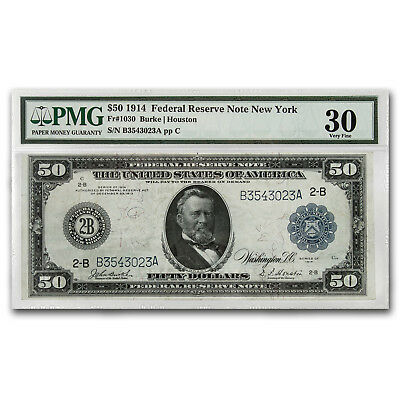 1914 (B-New York) $50 FRN VF-30 PMG