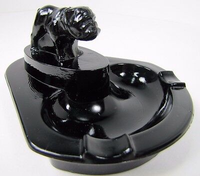 Old Black Glass Bulldog Ashtray Tray art deco sleek cigar mack truck decorative