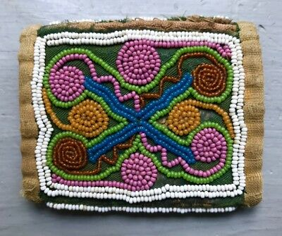 Early NORTHEASTERN BEADED POUCH, c. 1850s