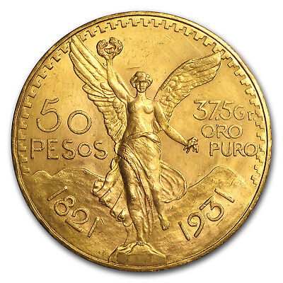 1931 Mexico Gold 50 Pesos (Cleaned)
